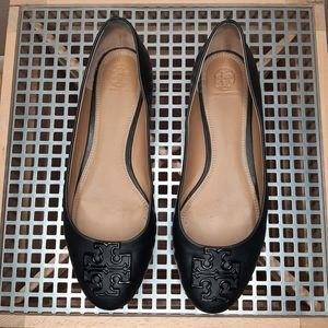 "Tory Burch ""Melinda"" powder coated leather flats"